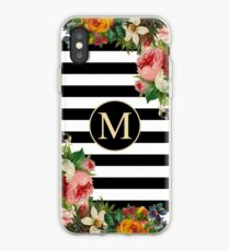 Monogram M On Vintage Flowers And Black And White Stripes iPhone Case