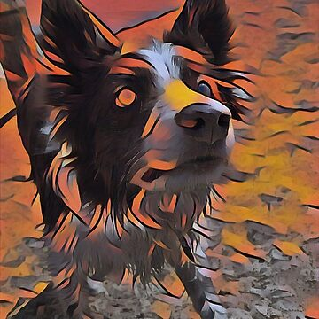 Border Collie - Mesmerizing Eye - Herding Dog - Stylized Painting 4 by rickitywrecked