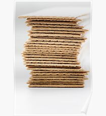 Close-up of stack of crispy wheat flat bread Poster