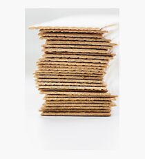 Close-up of stack of crispy wheat flat bread Photographic Print