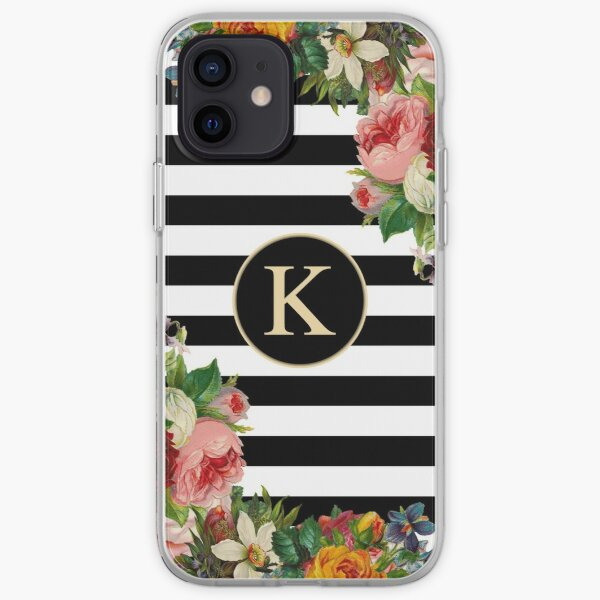 Monogram K On Vintage Flowers And Black And White Stripes iPhone Soft Case