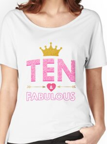 Cute 10th Birthday For Girls Princess Crown Ten Gift  Women's Relaxed Fit T-Shirt