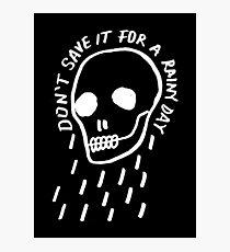 rainy day simple skull with hand drawn type (dark) Photographic Print