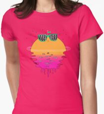 Happy Sunset Womens Fitted T-Shirt