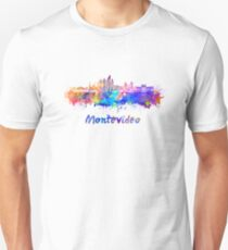 Montevideo skyline in watercolor Unisex T-Shirt