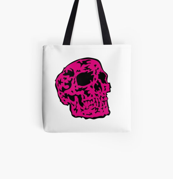 pink Skull Allover-Print Tote Bag