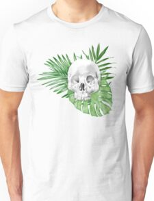 Watercolor Skull WIth Leaves Unisex T-Shirt