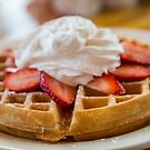 Waffle Topped with Strawberries and Whipped Cream by dbvirago