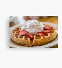 Waffle Topped with Strawberries and Whipped Cream Canvas Print