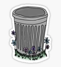 grey trash can with flowers Sticker