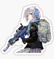 Unisex - Anime girl with gun Sticker