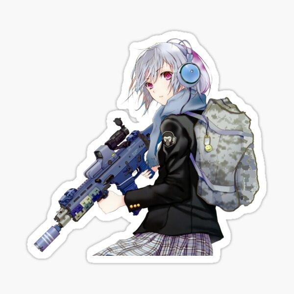 Unisex - Anime girl with gun Sticker