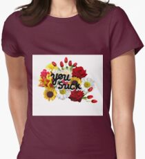 Floral U Suck Womens Fitted T-Shirt