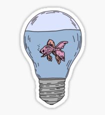 lightbulb with fish in it Sticker