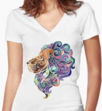Amazing colorful lion Women's Fitted V-Neck T-Shirt