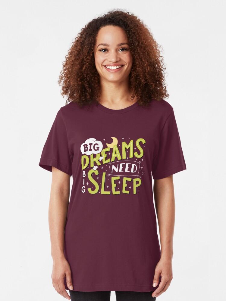 Alternate view of Big dreams need big sleep - Green Slim Fit T-Shirt