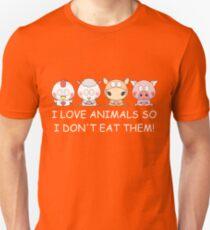 I LOVE ANIMALS SO I DON'T EAT THEM! Vegan Unisex T-Shirt