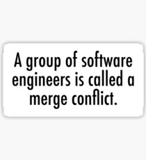 A merge conflict of software engineers Sticker