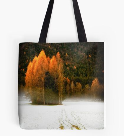 Group of pine trees in the mist Tote Bag