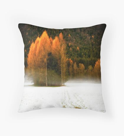 Group of pine trees in the mist Throw Pillow