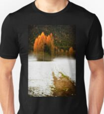 Group of pine trees in the mist Unisex T-Shirt