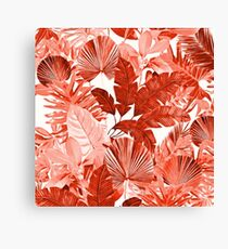 Grand Reverie - Tropical Leaf Red and Pink Canvas Print