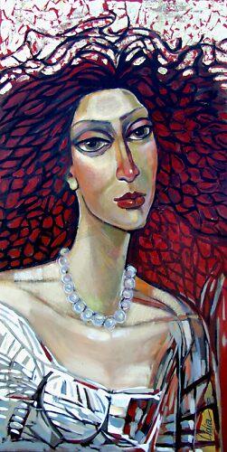 Woman in red by lidiasimeonova