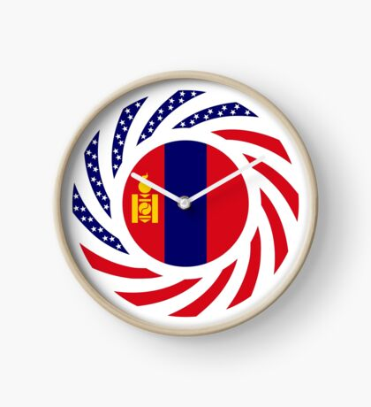 Mongolian American Multinational Patriot Flag Series Clock