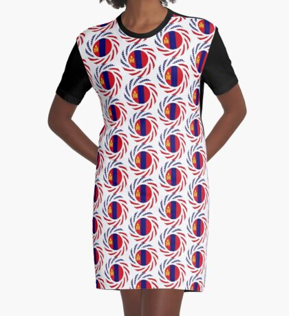 Mongolian American Multinational Patriot Flag Series Graphic T-Shirt Dress