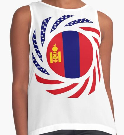 Mongolian American Multinational Patriot Flag Series Sleeveless Top