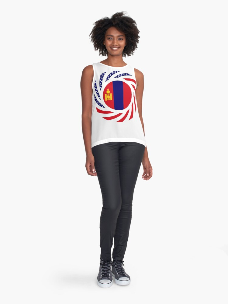 Alternate view of Mongolian American Multinational Patriot Flag Series Sleeveless Top