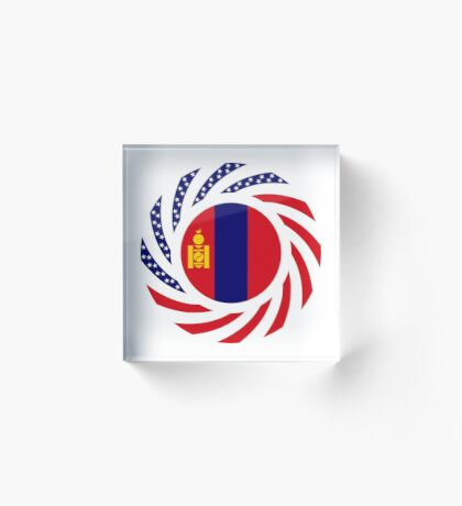 Mongolian American Multinational Patriot Flag Series Acrylic Block