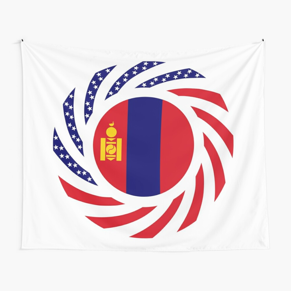 Mongolian American Multinational Patriot Flag Series Wall Tapestry