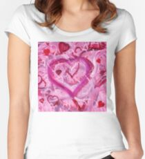 Romantic Scribble Heart Pink 17 Women's Fitted Scoop T-Shirt