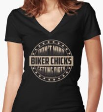 Biker Chicks Don't Mind Getting Dirty ~ Motorcycle Art Women's Fitted V-Neck T-Shirt