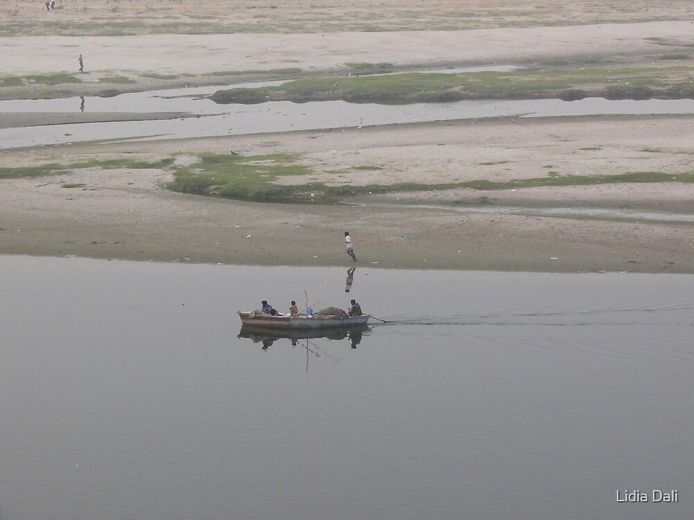 Dragging a Boat at Yamuna by Lidiya
