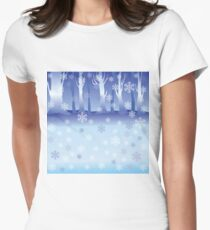 Winter Forest Womens Fitted T-Shirt