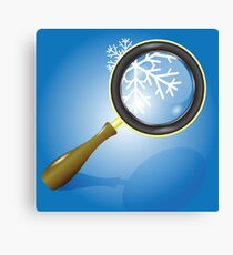 snow flake and magnifying glass Canvas Print