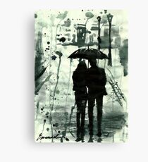 Rainy day ink drawing Couple with umbrella - Love Canvas Print