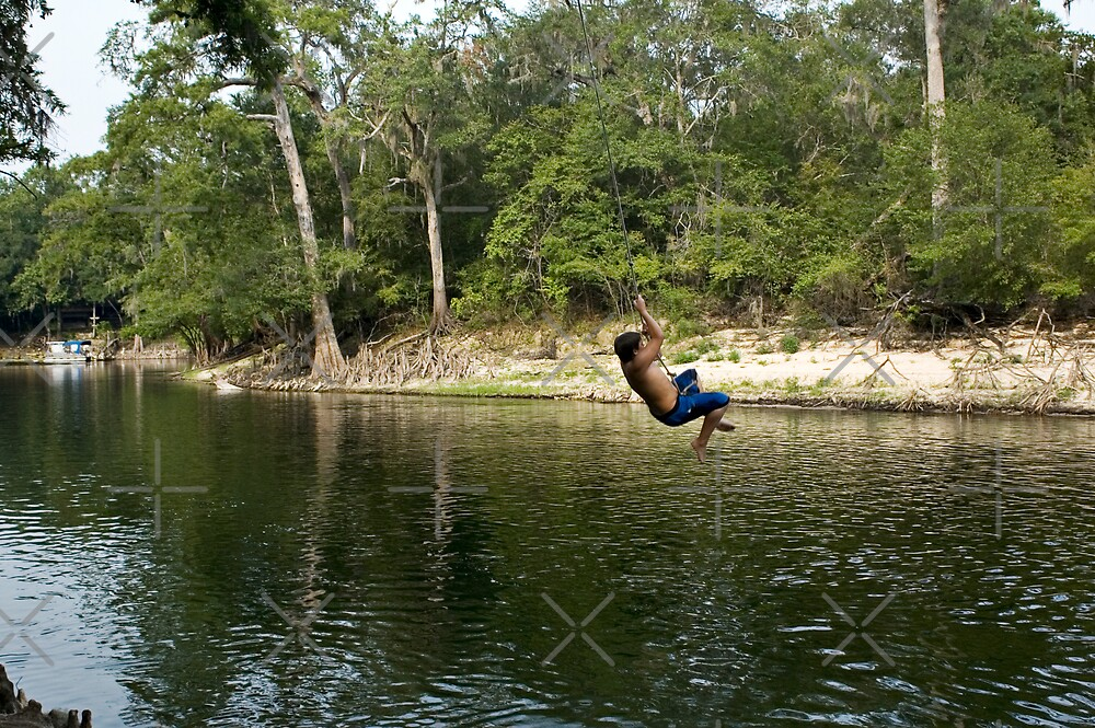 Kid on Rope Swing by Stacey Lynn Payne