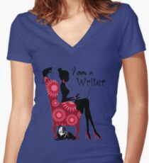 I,m a Writer and Love Blogging Women's Fitted V-Neck T-Shirt