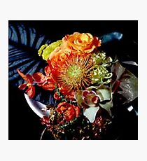 Floral Arrangement, Orange, Yellow, Red, Brown on black Photographic Print