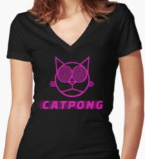 Cat pong Women's Fitted V-Neck T-Shirt