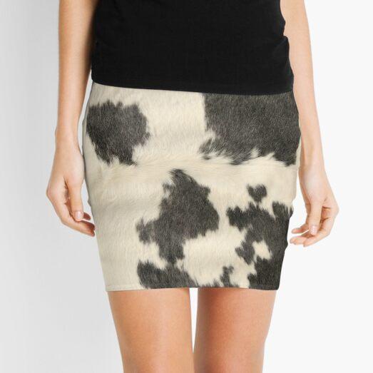 Black & White Cow Hide Mini Skirt
