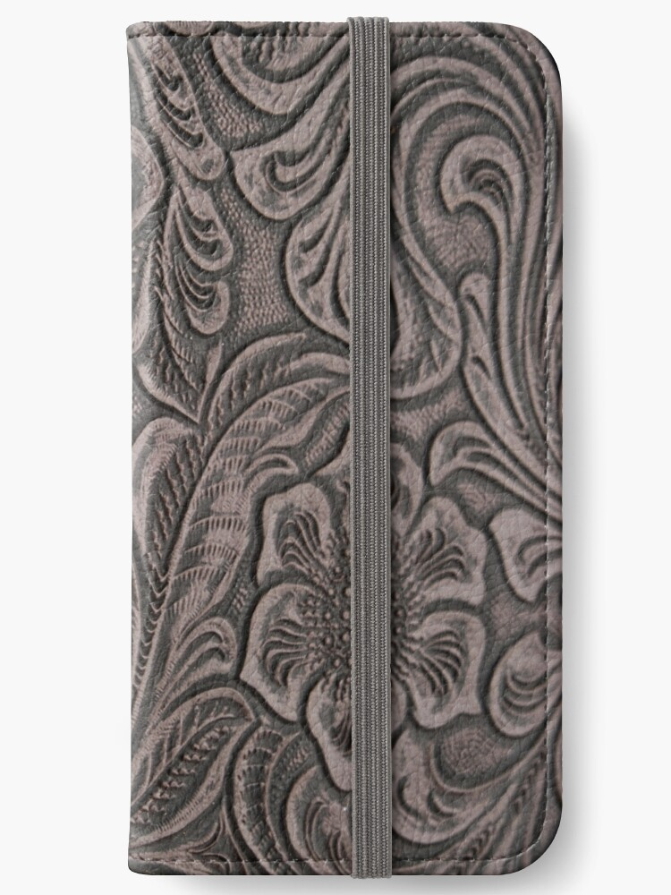 Distressed Smoky Tooled Leather iPhone Wallet