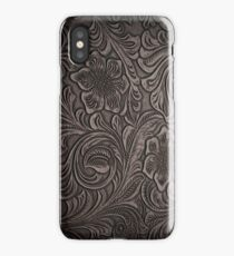 Distressed Smoky Tooled Leather iPhone Case/Skin