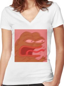 Angry Pepe Women's Fitted V-Neck T-Shirt