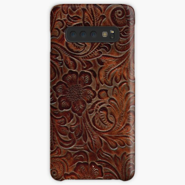 Burnished Rich Brown Tooled Leather Pattern Samsung Galaxy Snap Case