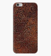 Burnished Rich Brown Tooled Leather iPhone Case