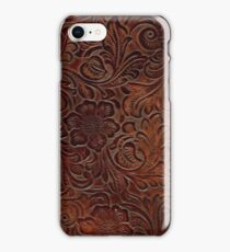 Burnished Rich Brown Tooled Leather iPhone Case/Skin
